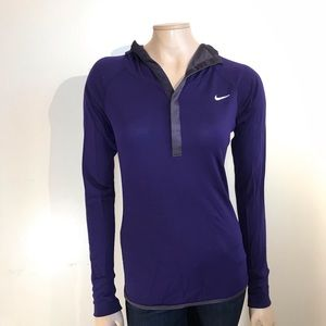 NIKE DRI-FIT purple Hooded Pullover Wool blend